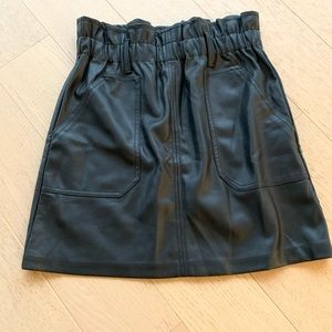 Zara black faux leather mini skirt